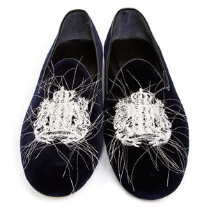 double t(ダブレット)EMBROIDERY VELVET SLIP-ON