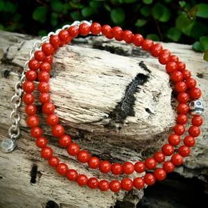LOY CAN$(ロイキャンドル) Stone Skull Bracelet ストーンブレスレット Coral