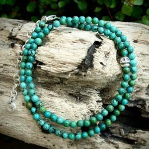 LOY CAN$(ロイキャンドル) Stone Skull Bracelet ストーンブレスレット Cut Turquoise