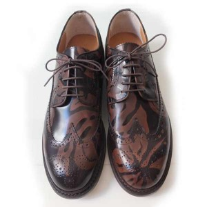 double t(ダブレット)  LEAF PATTERN WING-CUT SHOES ブラウン