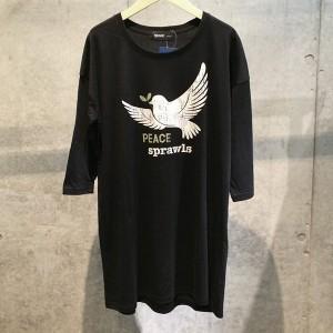 SPRAWLS(スプロールス) PEACE HATO 七分丈  Tシャツワンピース