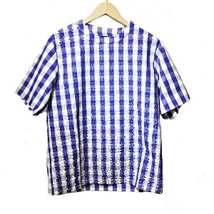 TaaKK(ターク)  Bonding Gingham PullOver Shirt(BLUE)