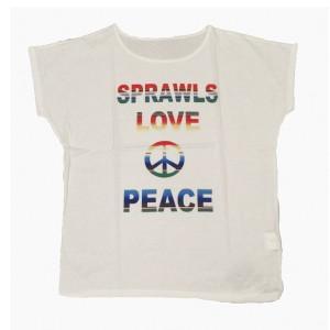 SAPRAWLS(スプロールズ) LOVE PEACE シャツ (ホワイト)