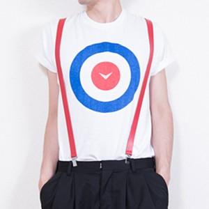 Shinyayamaguchi(シンヤヤマグチ) Target T-Shirt BLUE/WHTE