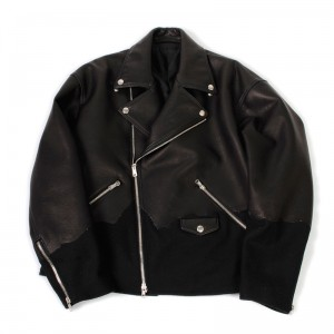 DOUBLET(ダブレット) PAINT LEATHER BONDING RIDERS JACKET  BLK L size