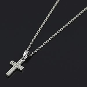 SYMPATHY OF SOUL  Small Gravity Cross Necklace – Silver w/CZ