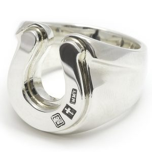 SYMPATHY OF SOUL  Combination Horseshoe Ring – All Silver