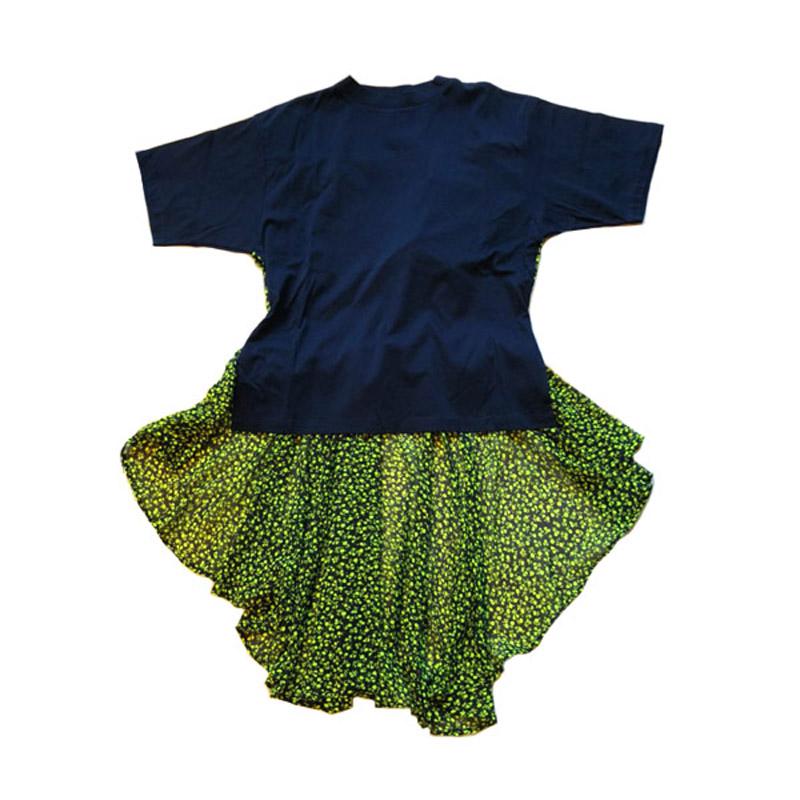 フラワープリントバックフレアTシャツ青