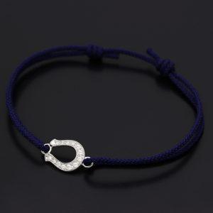 SYMPATHY OF SOUL Horseshoe Amulet Cord Bracelet – Silver w/CZ