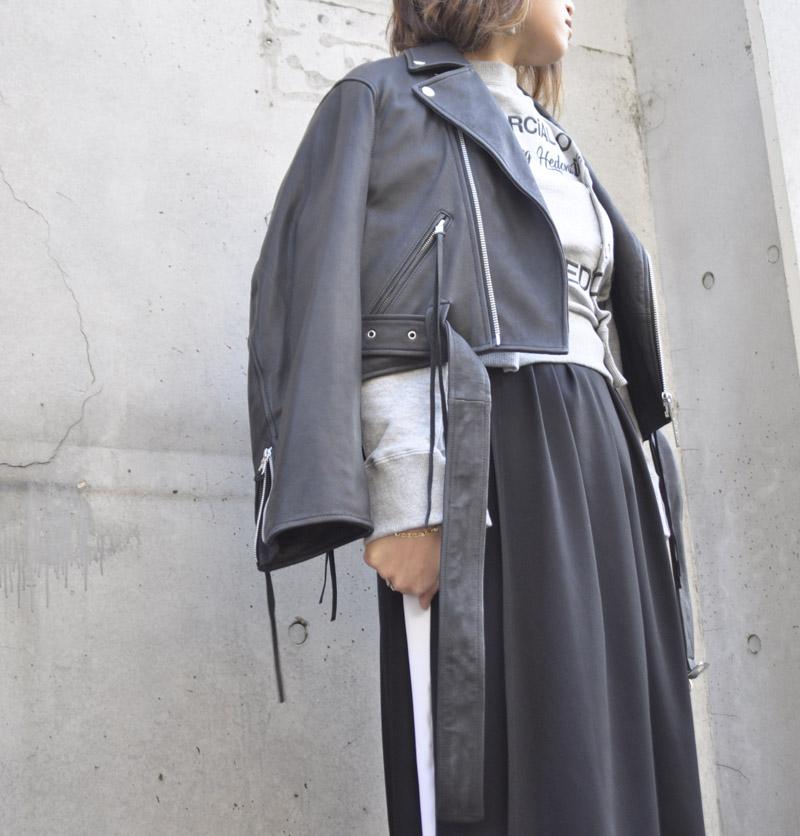 クロップド ライダースジャケット