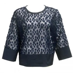 IN-PROCESS FLOWER PRINT EMBROIDERED ORGANZA TOP (NAVY)
