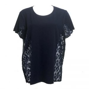 IN-PROCESS (インプロセス) FLOWER EMBROIDERED SIDE PANEL TEE BLACK