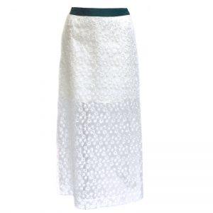 IN-PROCESS FLOWER PRINT EMBROIDERED ORGANZA SKIRT (WHT)