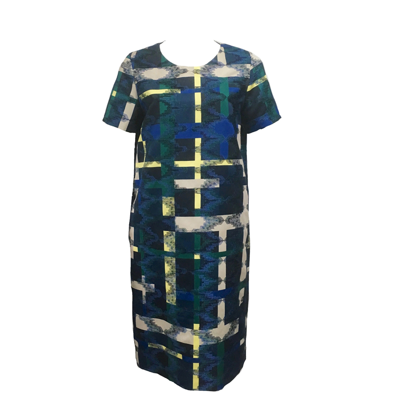 PRINT EMBROIDERED GROSGRAIN DRESS (CHECK)