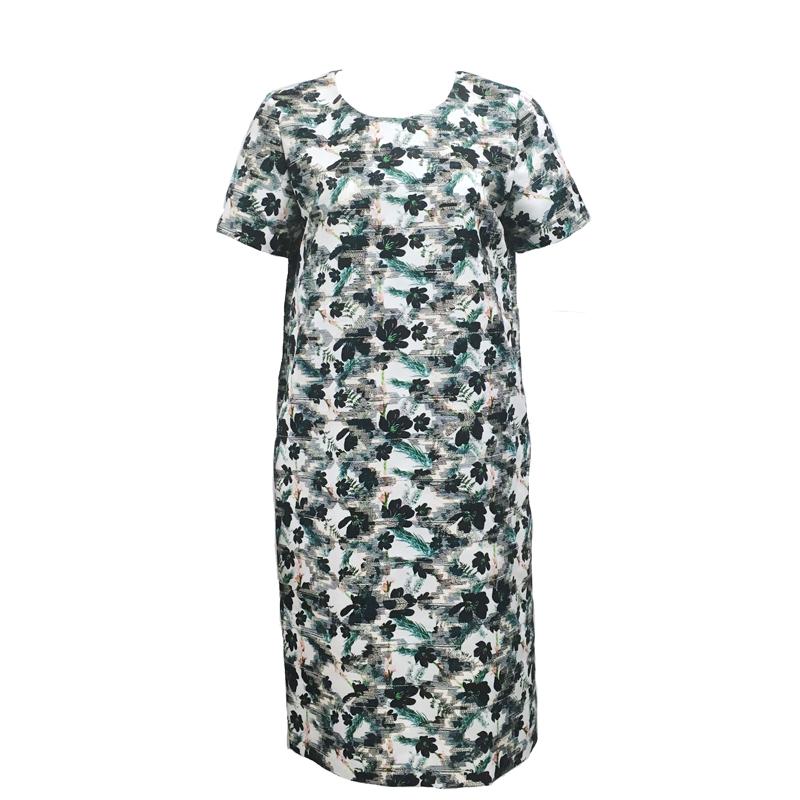 PRINT EMBROIDERED GROSGRAIN DRESS (FLOWER)