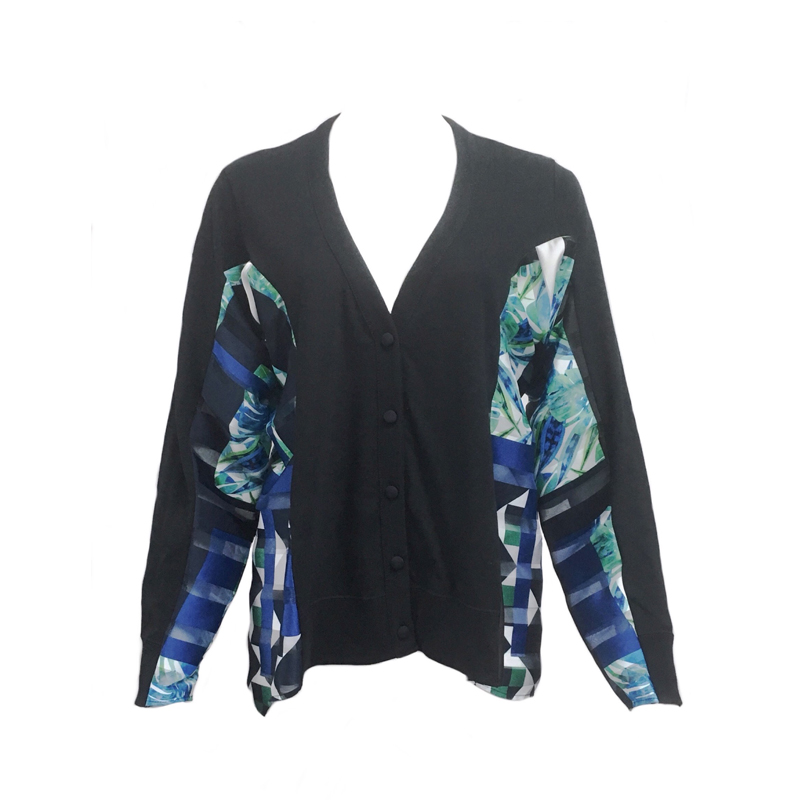 PRINTED SIDE PANEL CARDIGAN BLK