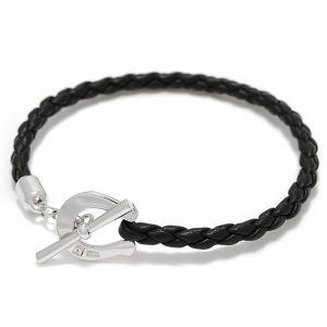 SYMPATHY OF SOUL Horseshoe Leather T-Bar Bracelet – Silver