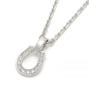 SYMPATHY OF SOUL Small Charm Necklace – Horseshoe – Silver w/CZ