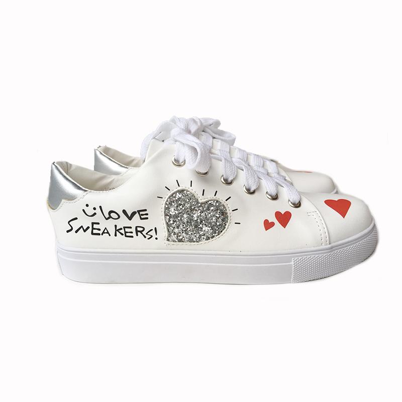 Heart Sneaker WHT