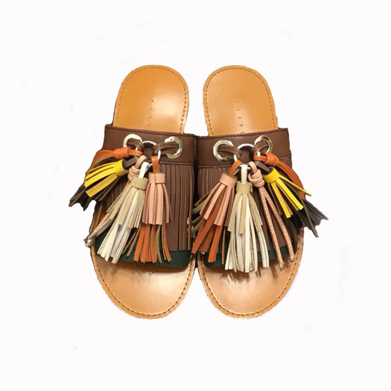 K Fringe sandals(BRN)
