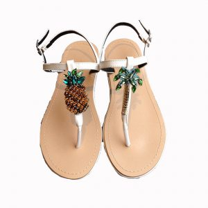 Pineapple bijou sandals(WHT)