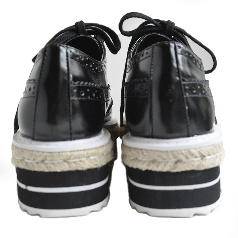 Platform enamel sneakers BLK