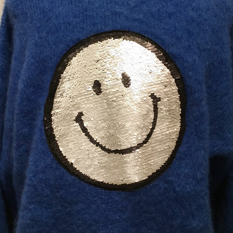 MOHAIR SMILEY KNIT BLU