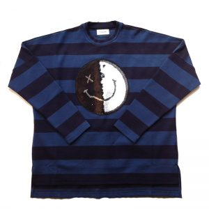 TAAKK(ターク) TIP OVER SPANGLE SMILEY BORDER T-SHIRT BLU