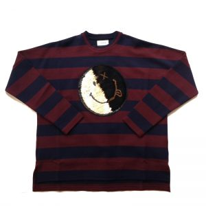 TAAKK(ターク) TIP OVER SPANGLE SMILEY BORDER T-SHIRT RED