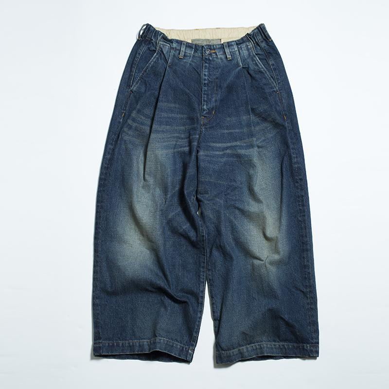 EFFECTEN tuck wide denim pants(Bleach)