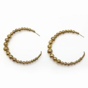 Kenneth Jay Lane Beaded Wire Hoop Earrings
