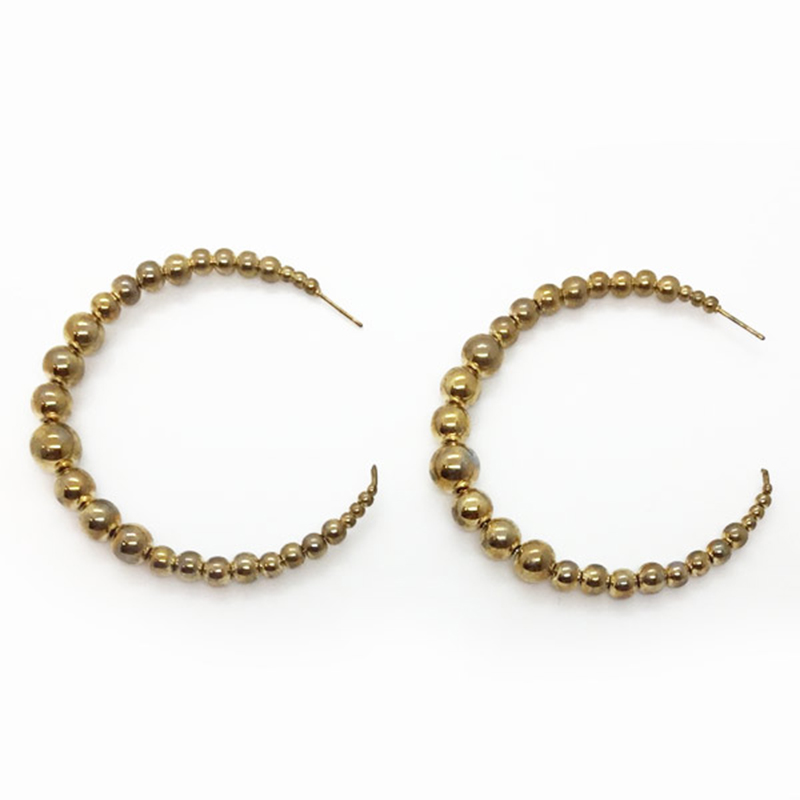 KJL Beaded Wire Hoop Earrings