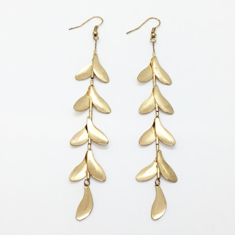 KJL Satin Gold Leaves Drop Fishhook Earring