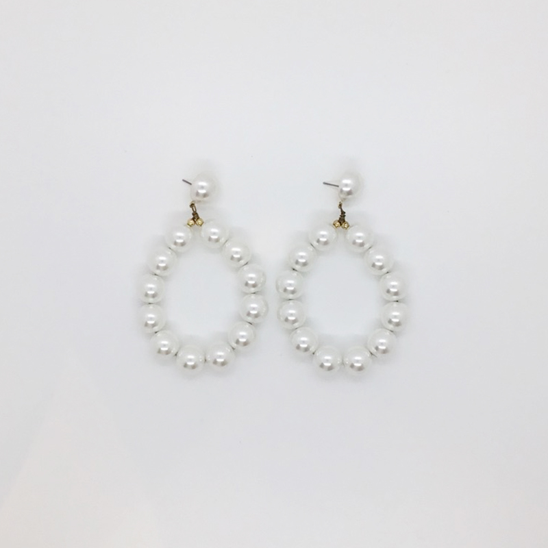 KJL White Pearl Balls Hoop Earrings