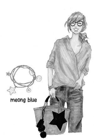 meomg blue サイザルレザーコンビバッグ