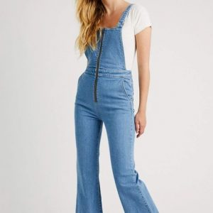 ROLLA'S EASTCOAST FLARE OVERALL LILAH BLUE ORGANIC